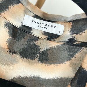 Equipment Tops - Equipment Silk Chiffon Sheer Leopard Print Blouse